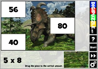 Practice multiplications with Dino photo puzzles