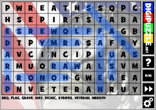 graphic regarding Memorial Day Word Search Printable called Memorial Working day